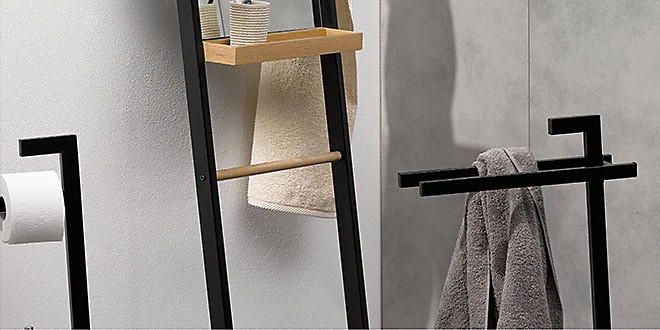 Oak towel holder free-standing mirror