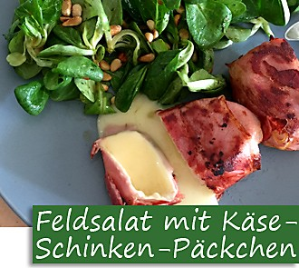 Rezeptbutton Feldsalat mit Käse-Schinken-Päckchen