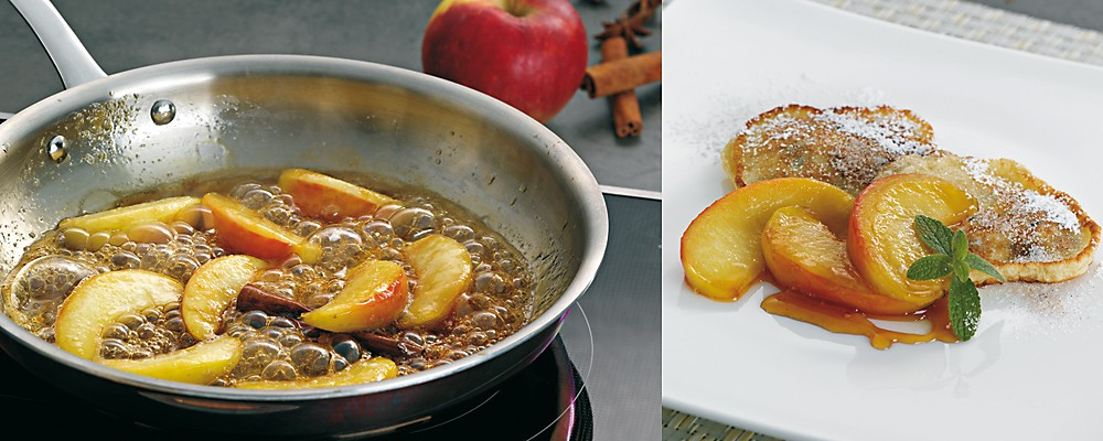 Flambierte Apfelschnitze auf Zimt-Pfannküchle Headerbild
