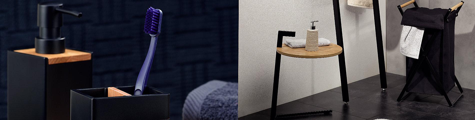 moderne Badeinrichtung in Schwarz-/Holzoptik mit den kela Serien Oak und Cube