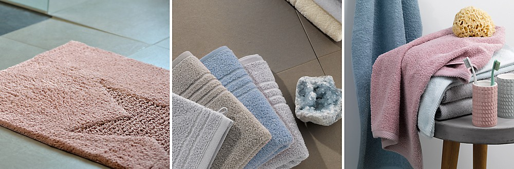 Badtextilien: Badematte, Handtücher, Duschtücher in vielen Farben