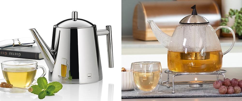 Kaffee und Tee: Teekannen Ancona aus Edelstahl und Aurora aus Glas