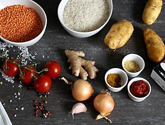 Zutaten für das Kartoffelcurry kela Mitarbeiterrezept