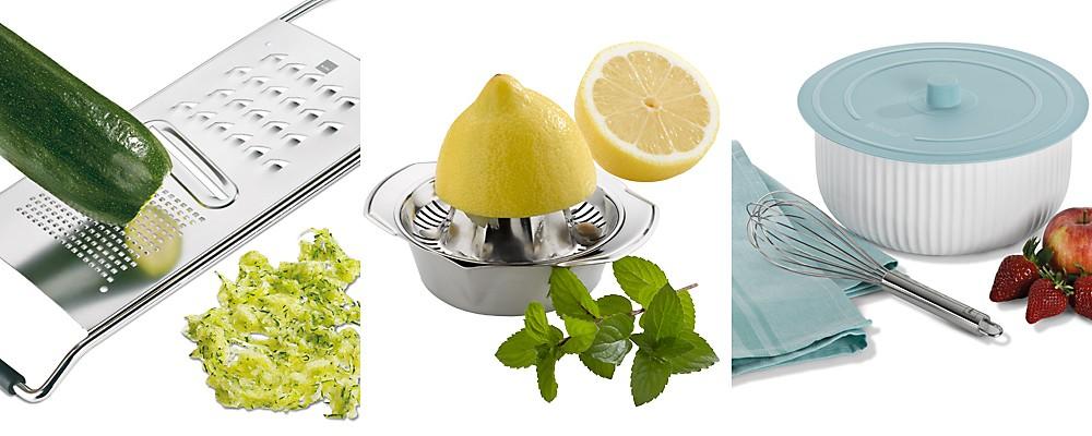 Küchenhelfer: Hobel, Zitronenpresse, Schneebesen von kela
