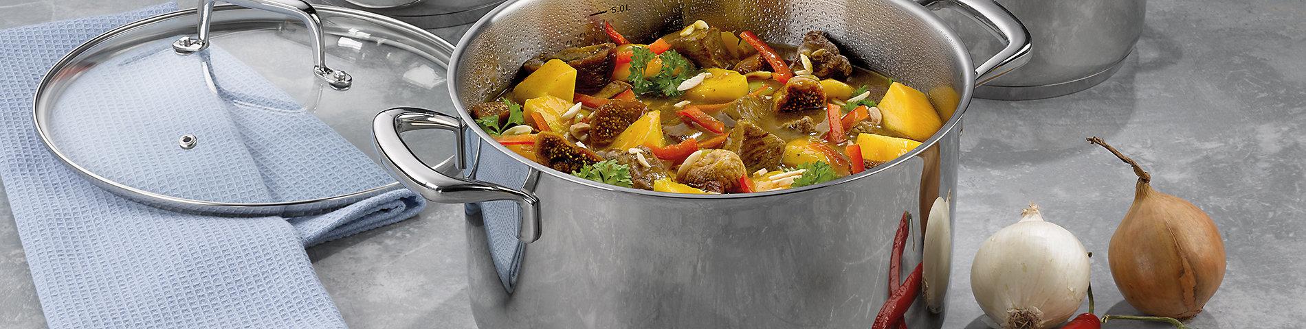Umfangreiche Kochgeschirrserie Flavoria aus Edelstahl