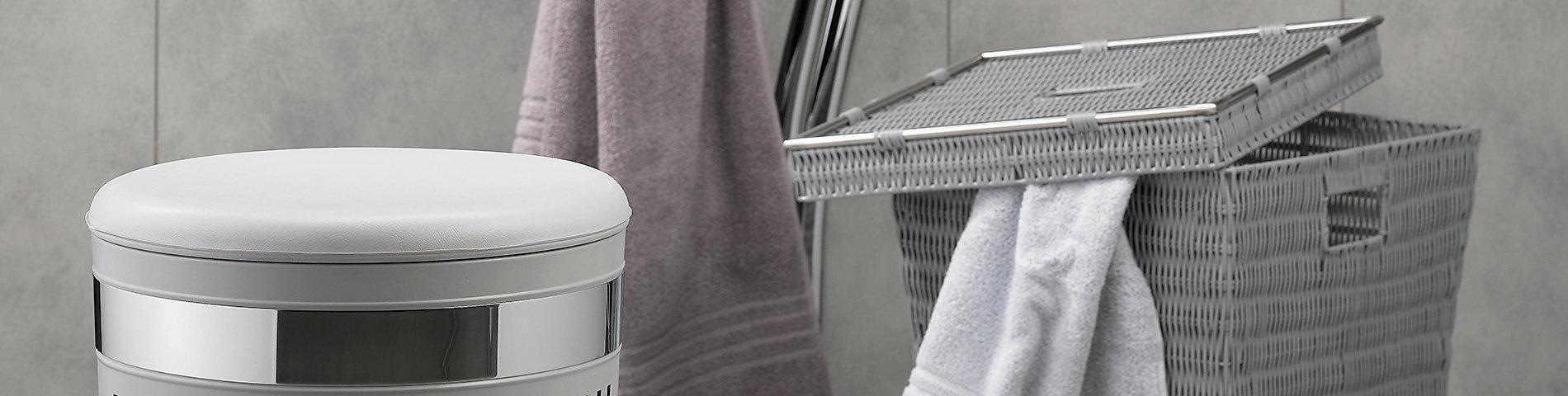Ordnung im Badezimmer mit Wäschebox und Korb-Varianten