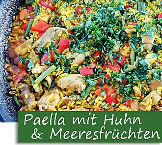 Rezeptbutton Paella mit Hühnchen und Meeresfrüchten