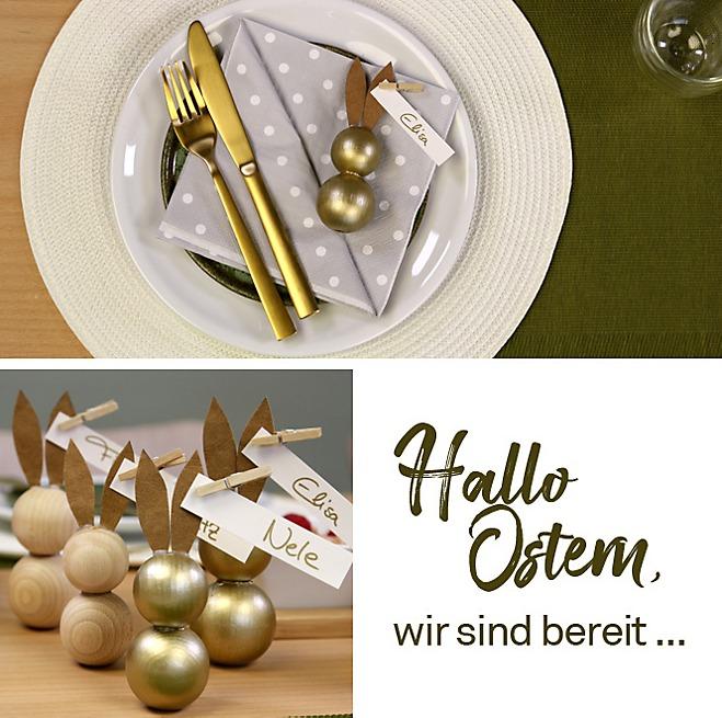 Osterhasen Holzperlen Tischkärtchen verschieden dekoriert