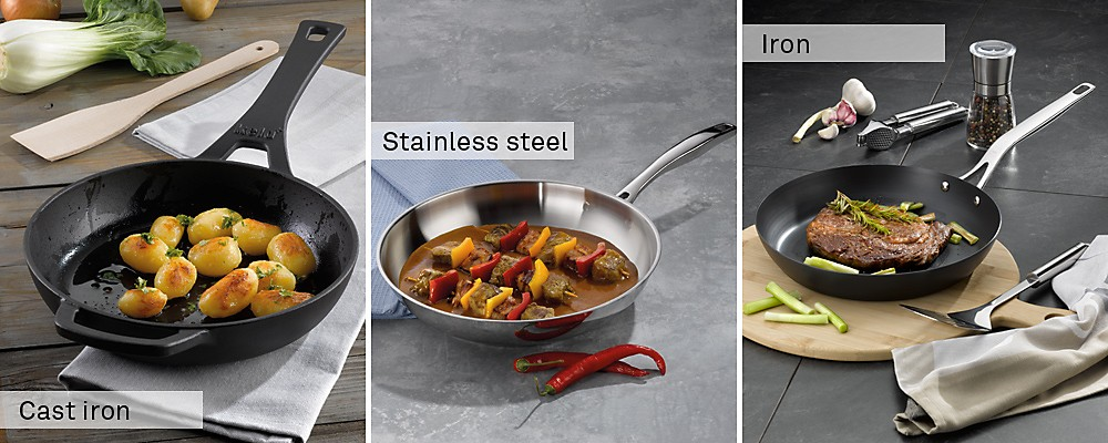 Pans made of different materials: Cast iron frying pans, stainless steel frying pans, iron frying pans – frying pans by kela