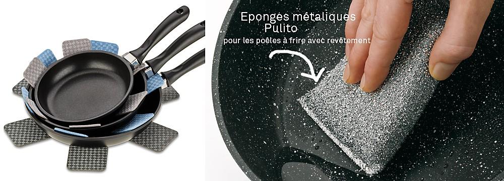 Nettoyer correctement les poêles à frire : Conseils pour l'entretien et l'utilisation des poêles à frire - Tampons spéciaux pour les poêles à revêtement