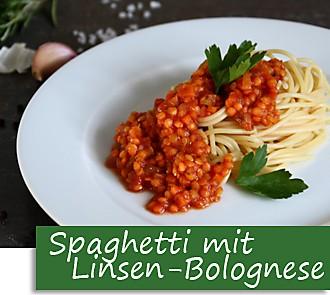 Rezeptbutton Spaghetti mit Linsen-Bolognese