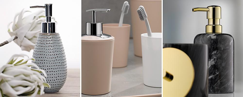 Seifenspender aus verschiedenen Materialien – Keramik, Kunststoff, Marmor