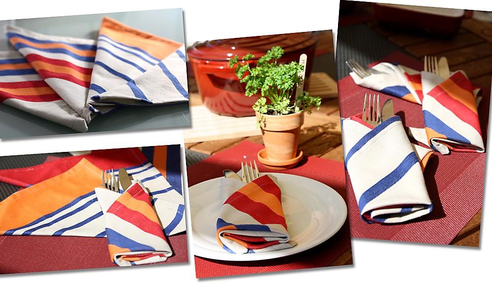 Servietten nähen Beispiele für gedeckten Tisch