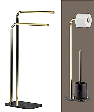 Gold ceramic toilet brush and paper roll holder set