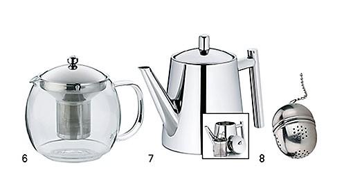 Teekannen Edelstahl Glas