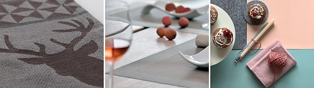 Verschiedene Materialien von Tischsets: Baumwolle, Kunststoff, Kunstleder