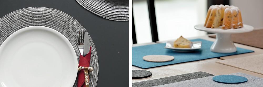 Tischsets in verschiedenen Farben – Schwarz, Beige, Grau, Anthrazit