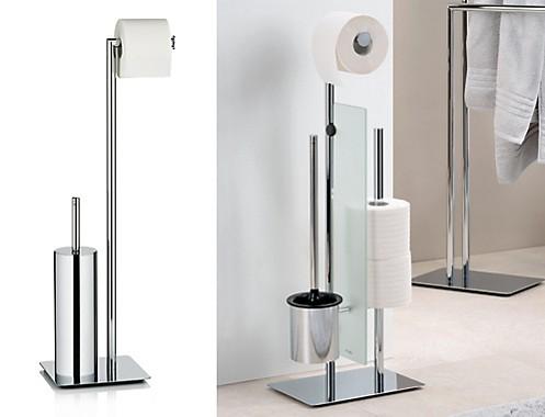 Toilettengarnituren: Standgarnitur in Silber aus verchromtem Metall