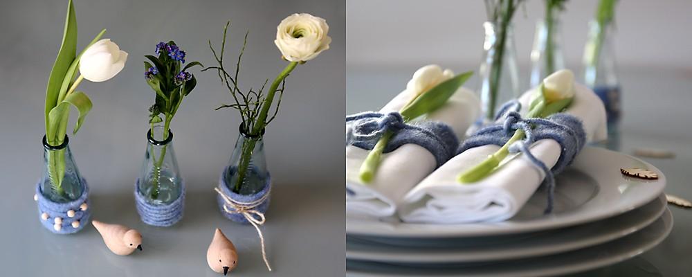 Tischdeko und Serviettenring Tulpen blau