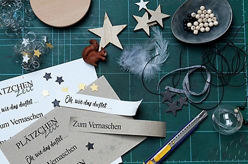 Material für weihnachtliche Dekoration von Vorratsgläsern