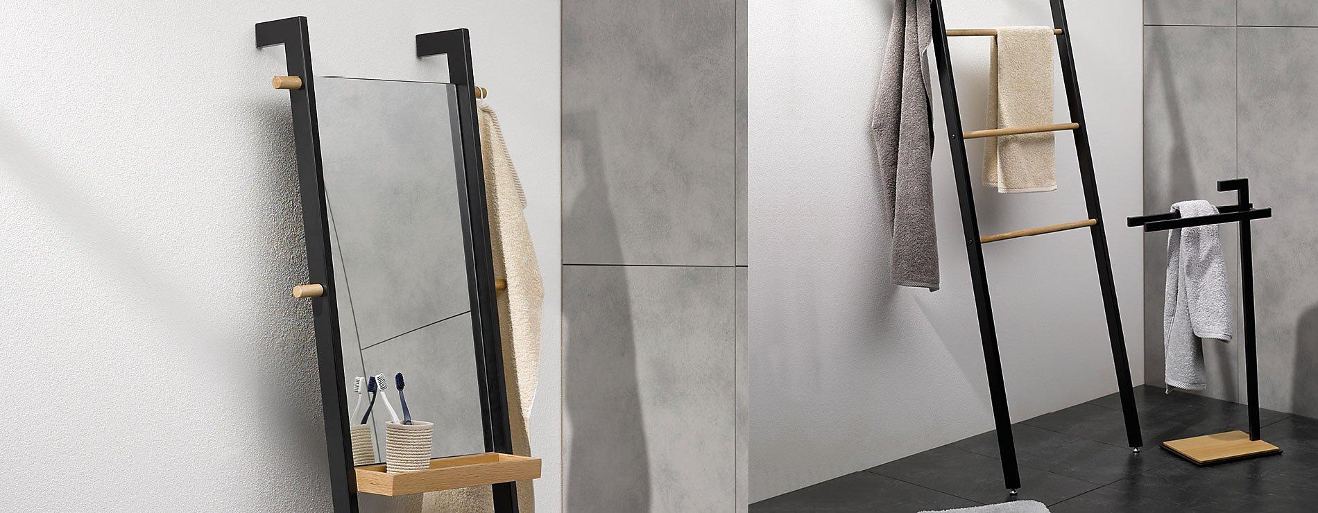 Schöne Kleinmöbel für Ihr Badezimmer in schwarz und braun, Serie Oak von Kela