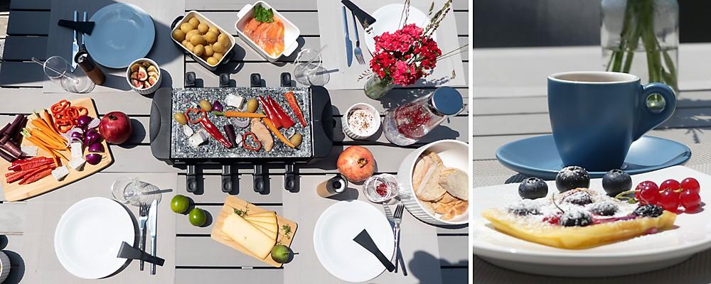 Raclette Outdoor Grillen mit sommerlichen Zutaten