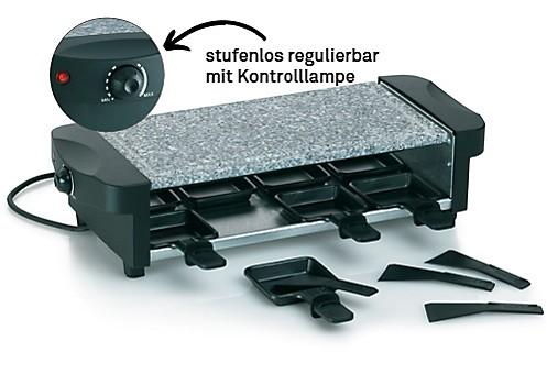 Raclette Set mit Granitplatte, Pfännchen und Schaber