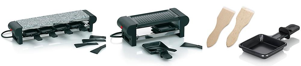 Raclette und Zubehör – Materialien: Granitstein, Grillplatte beschichtet
