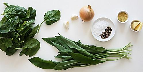 Zutaten Spinat-Baerlauch-Suppe