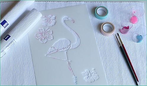 Tischset Flamingo Step 1 Materialien